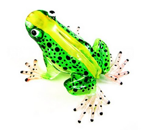 - Lampwork COLLECTIBLE MINIATURE HAND BLOWN Art GLASS New Frog, Green FIGURINE by ChangThai Design
