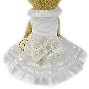 White Pearl Flower Dog Puppy Luxury Bow Dress Pet Cat Tutu Skirt Princess Wedding Dress Dog Chihuahua Clothes Bride Costume (XS, White)