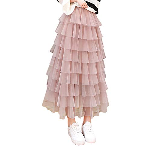 Long Ruffle Skirt - Itemnew Women's Sweet Elastic Waist Tulle Layered Ruffles Mesh Long Tiered Skirt (One Size, Pink)