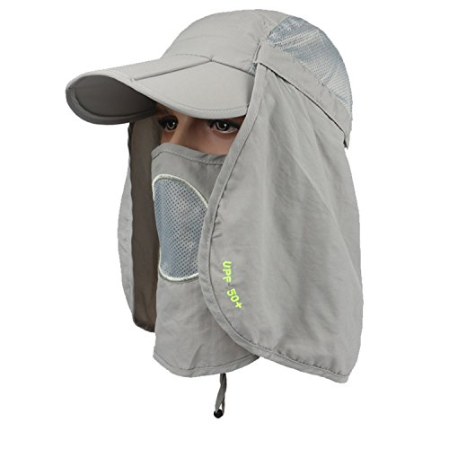 Dukars Fishing Hats Unisex Outdoor Sun Protection Fishing Cap with Face & Neck Flap for Hunting Hiking Garden Work (Light Gray)