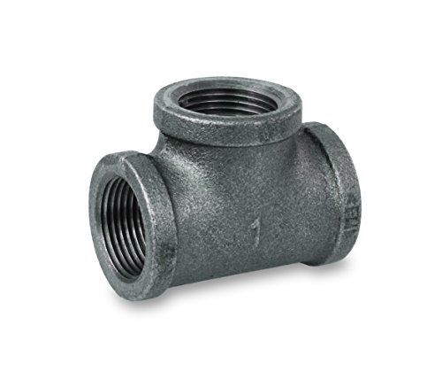 Everflow Supplies BMTE0112 High Pressure Black Malleable Tee Fitting with Female Threaded Connections, 1-1/2