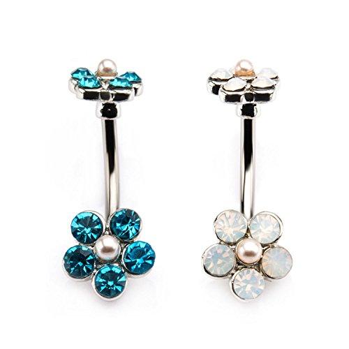 Pearl Opal Gems (14g 7/16 Top and Bottom WildKlass Bezel Set Gem and Imitation Pearl Flower Navel (14g 7/16