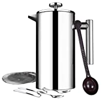 Homitt French Press Coffee Maker, 34oz Double Wall Stainless Steel, Screens Filters, No Grounds Coffee Tea Maker Bonus with Coffee Measuring Spoon, 2 Stainless Steel Mixing Spoon, 2 More Additional Filter Screens