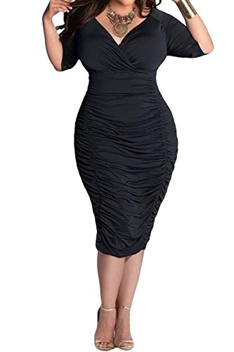 (POSESHE Womens Plus Size Deep V Neck Wrap Ruched Waisted Bodycon Dress (XXXL, Black))