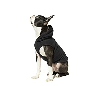 Gooby - Fleece Vest Hoodie, Small Dog Pull Over Hooded Fleece Jacket with Leash Ring, Black, Small