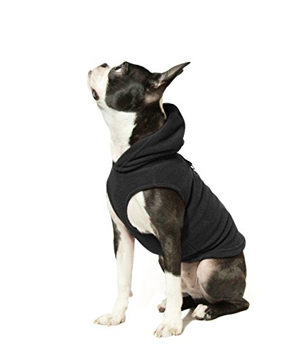 Gooby - Fleece Vest Hoodie, Small Dog Pull Over Hooded Fleece Jacket with Leash Ring, Black, ()