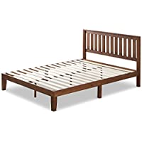 Zinus 12 Inch Wood Platform Bed with Headboard / No Box Spring Needed / Wood Slat Support / Antique Espresso Finish, Queen