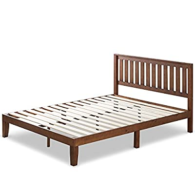 Zinus 12 Inch Solid Wood Platform Bed with Headboard/No Box Spring Needed/Wood Slat Support/Antique Espresso Finish, Queen - Easy to assemble and no box Spring needed 37 inch high wood paneled headboard Strong wood slat mattress support for increased mattress life - bedroom-furniture, bedroom, bed-frames - 411RL6VX5bL. SS400  -