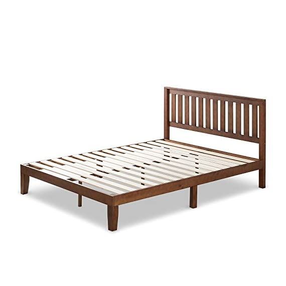 Zinus Vivek 12 Inch Wood Platform Bed with Headboard / No Box Spring Needed / Wood Slat Support / Antique Espresso… - Easy to assemble and no box Spring needed 37 inch high wood paneled headboard Strong wood slat mattress support for increased mattress life - bedroom-furniture, bedroom, bed-frames - 411RL6VX5bL. SS570  -