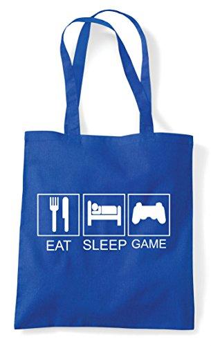 Eat Hobby Tiles Royal Game Bag Plain Activity Sleep Tote Blue Funny Controller Shopper OWqFgZOrw