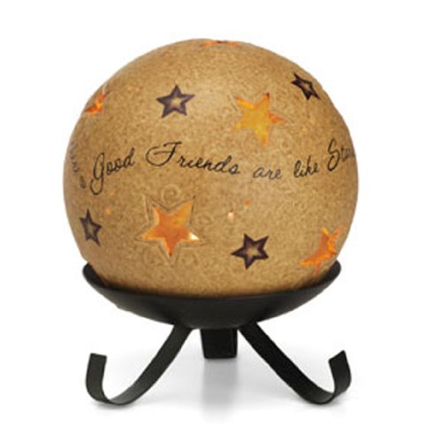 Pavilion Gift Company Comfort Candles 5-Inch Diameter Candle Holder Pierced with Stars, Good - Stand Star Candle