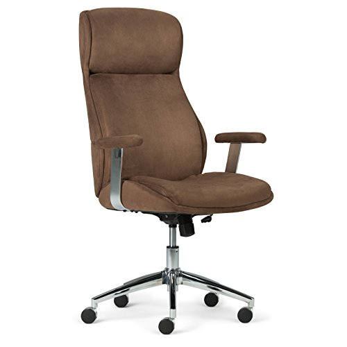 Simpli Home AXCOCHR-05 Melbourne Swivel Adjustable Executive Computer Office Chair in Chocolate Brown Faux Suede