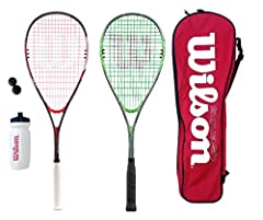Wilson Impact Squash set available in: Red / Green Green Great sets for beginners and intermediate players or just some family fun.