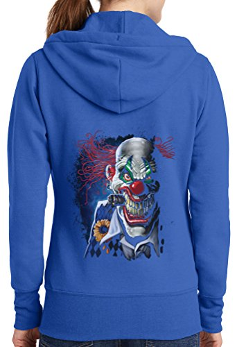 Womens Joker Clown Full Zip Hoodie, Royal, 2X