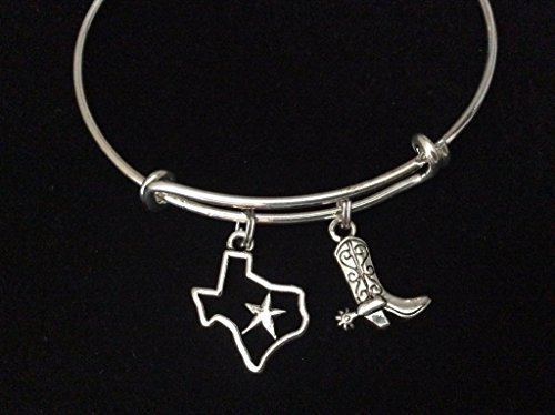 State of Texas with Star and Cowboy Boot Expandable Charm Br