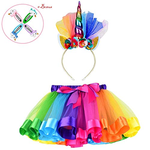 Unicorn Dresses for Little Girls, Unicorn Costume Rainbow Tutu Skirt with Unicorn Headband