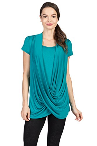 Savi Mom Draped Maternity & Nursing/Breastfeeding Shirt Top w/Cami (Large, Jade)