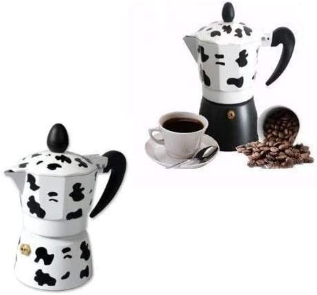 ducomi Cafetera espresso de Aluminio efecto Vaca/ /Moka Express con Mango at/érmico para un Caf/é Italiano Cremoso y Especial
