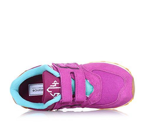 et sport bleu et Violet et caoutchouc fille ciel BALANCE l'arrière coutures à logo avec Chaussure filles en visibles tissu de suède et semelle NEW velcro fuchsia en latéral aWYtqn1