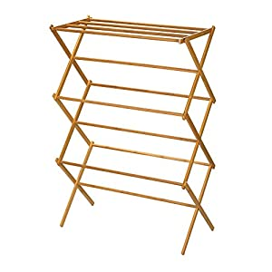 Household Essentials 6524 Tall Indoor Folding Wooden Clothes Drying Rack | Dry Laundry and Hang Clothes | Bamboo