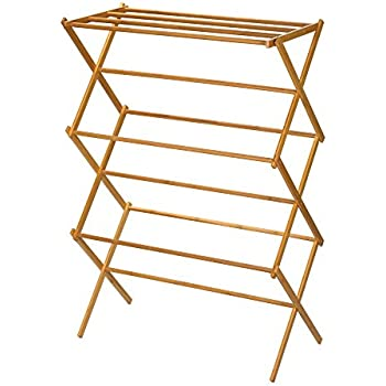 Household Essentials 6524 Tall Indoor Folding Wooden Clothes Drying Rack |  Dry Laundry and Hang Clothes