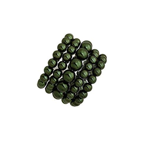 (Fashion 21 Women's Simulated Pearl Stretch Bracelet Stack 5 Piece Set (Dark Olive)