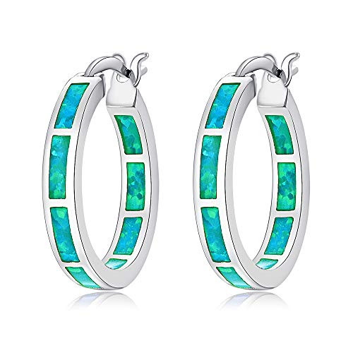 CiNily Green Opal Huggie Hoops Sterling Silver Plated Hypoallergenic Earrings for Women Girls with Sensitive Ears Fashion Hoop Earrings
