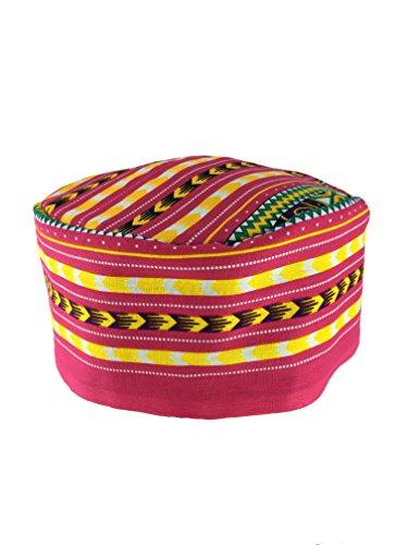 Vipada Handmade African Dashiki Hat Kente Pattern Kufi Kofi Hat Cap 3 (Pink with Yellow)