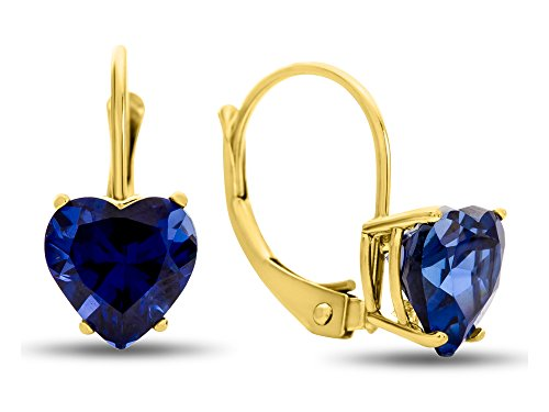 (Finejewelers 7x7mm Heart Shaped Created Sapphire Lever-back Drop Earrings 14 kt Yellow Gold)