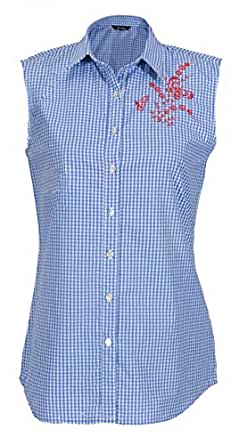 Checked Blue Buttoned Sleeveless Blouse