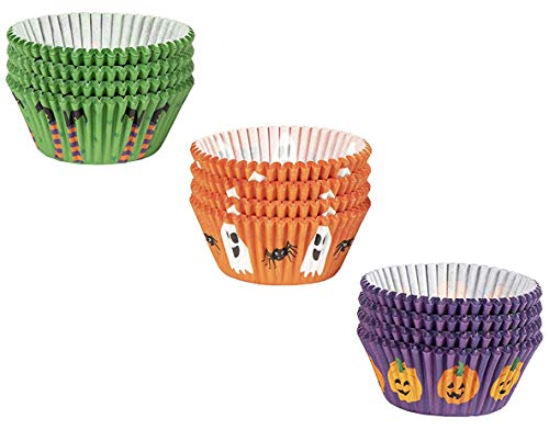 Halloween Cupcake Liners - 300-Piece Halloween Cupcake Wrappers Baking Supplies, Party Favors for Cake and Muffin Decorations, 3 Assorted Designs Including Pumpkin, Ghost and Spider, Witch]()