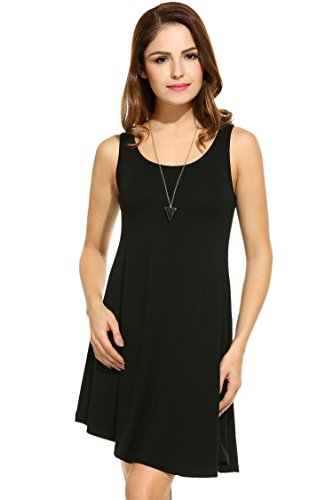 Meaneor Women T-Shirt Sleeveless Swing Dress Tunic Tank Top Black XXL (Tank Dress Plus Size)