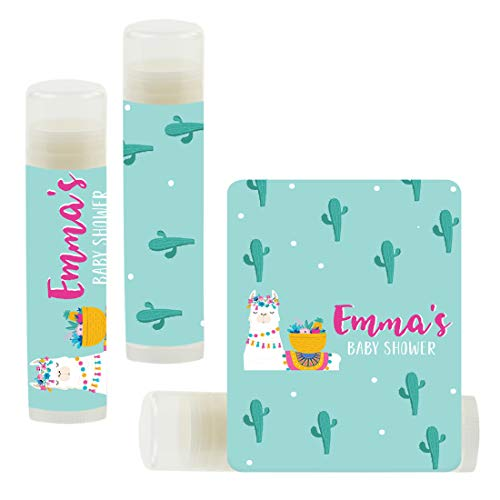 Andaz Press Personalized Llama and Cactus Party, Lip Balm Party Favors, Emma's Baby Shower, 12-Pack, Llama Alpaca Bohemian Themed Decor, Custom