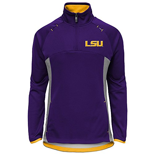 OuterStuff LSU Tigers NCAA Extreme Purple Team Logo 1/4 Zip Pullover Jacket Girls Youth (Purple Raglan Tigers Youth)