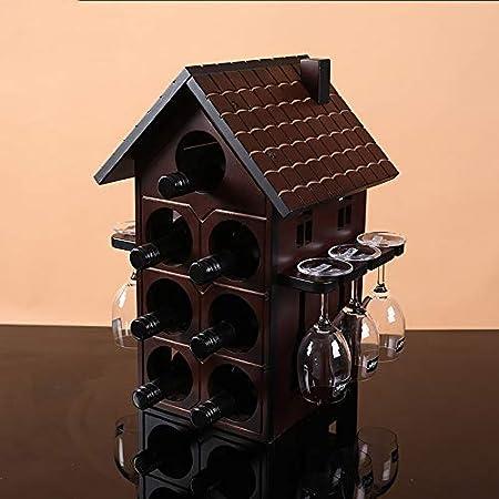 Hyl Portabotellas Vinoteca Porta Botellas de Vino,Estante de Vino Colgante Vintage Retro 2 en 1 Restaurante Bares vinoteca, Cocina,DecoracióN Caseras Modernas Interior Navidad Regalo etc(Rojo)