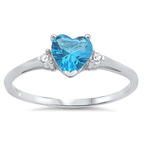 Blue Cubic Zirconia Ring - Oxford Diamond Co Sterling Silver Simulated Blue Cubic Zirconia Heart Promise Ring Sizes 8