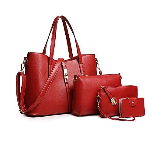 SIFINI dell'unità di elaborazione modo delle donne della borsa del cuoio + Shoulder Bag + borsa + del supporto di carta 4pcs Set Tote Bag Red-large
