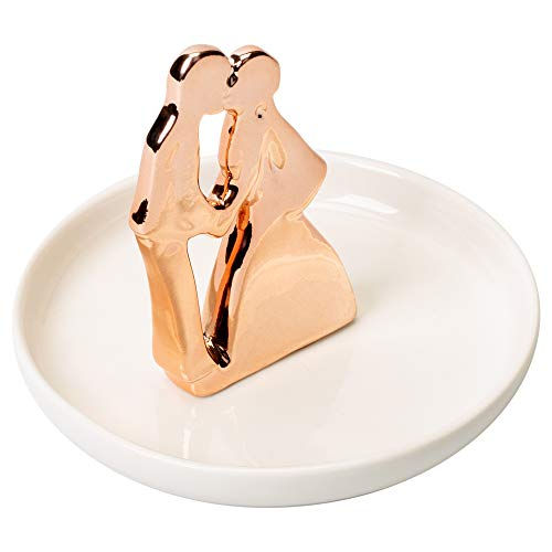 Rose Gold Tone Kiss the Bride Couple Porcelain Ring Dish Jewelry Holder