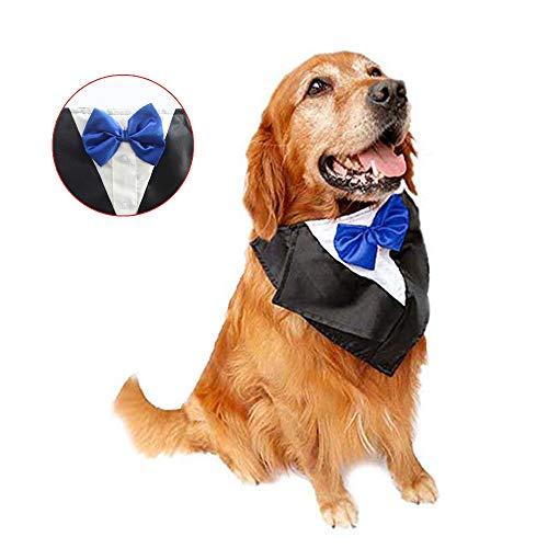 DogLemi Dogs Bowtie Tuxedo Neckwear Holloween Scarf Pet Dress-up Costumes Cosplay Accessories (Blue) -