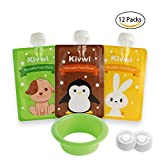Kivwi Baby, Kid, Toddler Reusable Food Storage Pouches, Dishwasher, Freezer Safe, 12 Packs 7oz Squeezable Pouches with A...