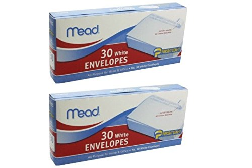 Mead No. 10 White self Adhesive White Envelopes set of 2 30 count (60 Total)