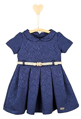 Lilax Little Girls' Flocked Occasion Dress with Shimmer Belt 4T Navy
