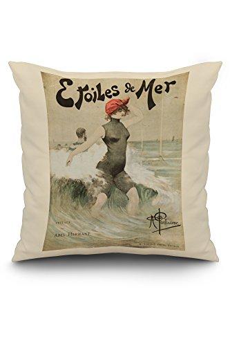Etoiles de Mer Vintage Poster c. 1897 (20x20 Spun Polyester Pillow, White Border)