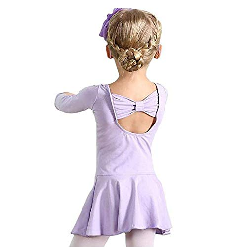 Hesuimaoyi Athletic Leotards Girl's Classic Long Sleeve Gymnastics Ballet Dance Leotard Back Bowknot Dress Purple]()
