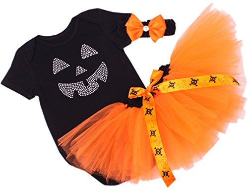 [CAKYE® Baby Girls' Halloween Tutu Dress Pumpkin Costume Set (Medium (6-9 months), Black)] (Black Tutu Halloween Costume)