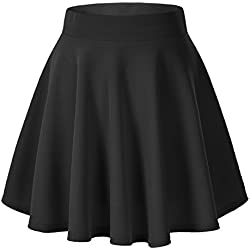 Urban CoCo Women's Basic Versatile Stretchy Flared Casual Mini Skater Skirt (XS, Black)