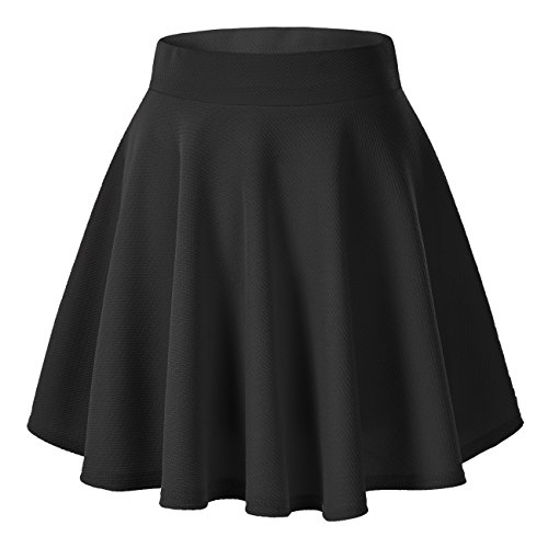 Urban CoCo Women's Basic Versatile Stretchy Flared Casual Mini Skater Skirt (Medium, Black) (Black Korean Girl)