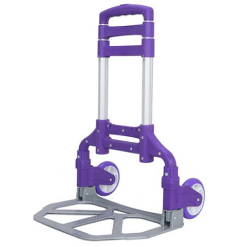 Luggage Cart Folding Push Truck Hand Aluminium Trolley Bungee Cord - Purple by Eight24hours