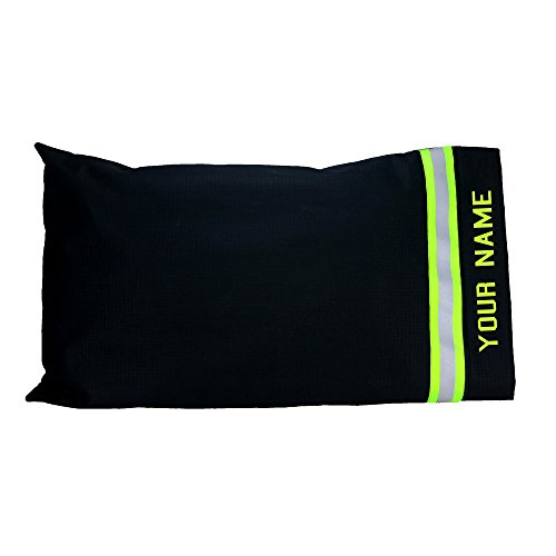 Firefighter Pillow Case Look Like Turn-out Bunker Gear With Reflective Stripe and Personalized Name (Black)