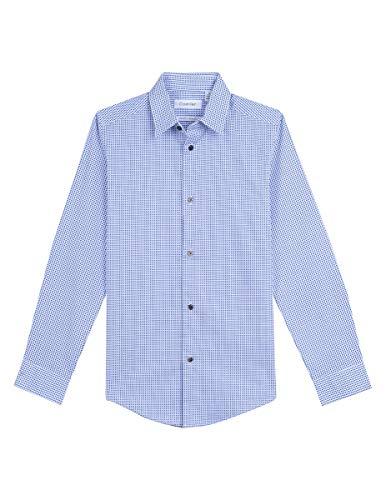(Calvin Klein Big Boys' Long Sleeve Printed Button-Down Dress Shirt, Split White, 12)